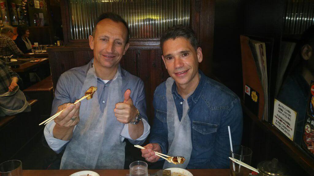 Enjoying Okonomiyaki at Namba Osaka