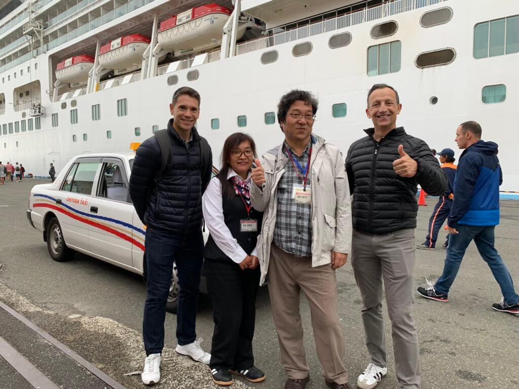 Cruise ship passengers and our English speaking guide at Okitus Pier, Shimizu, Japan