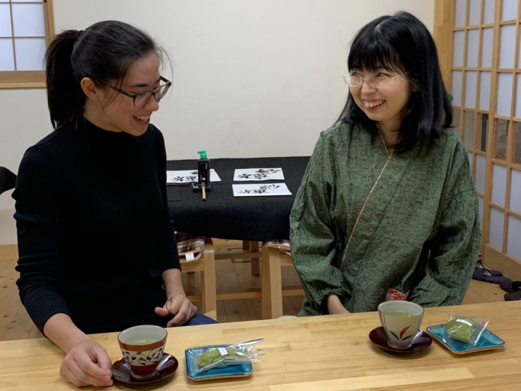 Calligraphy and tea time in Shizuoka